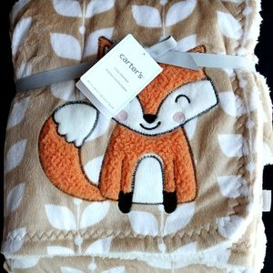 Carter's Cozy Baby Fox Plush Blanket Soft Sherpa